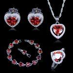 New Arrival Heart Red Created Garnet White Zircon 925 Stamp <b>Silver</b> Color Jewelry Sets For Women <b>Bracelets</b> Pendant Earrings Rings