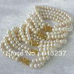 New White Akoya Cultured Pearl loose beads <b>making</b> Bracelet Wholesale 5PC 6-7MM 7.5″ YE2122