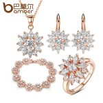 BAMOER 3 Colors Rose Gold Color Bridal <b>Jewelry</b> Sets & More for Women <b>Wedding</b> with High Quality AAA Zircon
