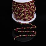 5Meter,Wine Red Malaysia Jades Faceted Rondelle Beads Rosary Chain,2x4mm Jaspers Brass Plated Chain,<b>Necklace</b> bracelet <b>Jewelry</b>