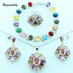 Reginababy Multi stone <b>Silver</b> color Bridal Jewelry Sets For Women Wedding <b>Bracelet</b>/Necklace/Earrings/Ring/Pendant