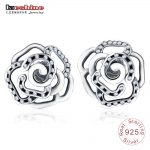 LZESHINE Trendy Original 925 Sterling Silver Rose Flower Stud Earrings with Clear CZ For Women <b>Jewelry</b> <b>Accessories</b> PSER0006-B