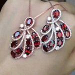 natural red garnet gem pendant S925 <b>silver</b> Natural gemstone Pendant <b>Necklace</b> trendy Luxury Leaf dinette Phoenix tai girl jewelry