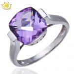 Hutang 100% Natural Amethyst Gemstone Solid 925 Sterling <b>Silver</b> Ring Checkboard Cut Fine <b>Jewelry</b>