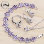 Purple Cubic Zirconia Costume Bridal Jewelry Sets Women Wedding Jewelry Rings <b>Bracelet</b> Necklace Earrings Stone Set Gift Box