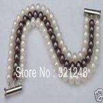Free postage diy Noblest 3 rows 7-8mm white & black pearl bracelet 7.5″ beads <b>jewelry</b> <b>making</b> MY2318