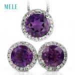 Natural amethyst <b>silver</b> jelwery set, pendant and <b>earring</b>, round 7mm for pendant and round 6mm for <b>earring</b>, little and lovely