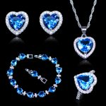 New Arrival Christmas Gift For Women Sky Blue Crystal White Zircon 925 Mark <b>Silver</b> Color Jewelry Sets Heart <b>Bracelets</b> Sets