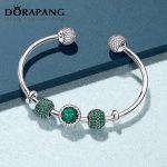 DORAPANG 925 Sterling <b>Silver</b> Double-headed classic crystal <b>bracelet</b> Clear CZ Charm Bead fit DIY <b>Bracelets</b> Set factory wholesale