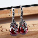 FNJ Natural Stone Drop <b>Earring</b> for Women oorbellen 925 <b>Silver</b> brincos Synthetic Red Corundum S925 Sterling <b>Silver</b> <b>Earrings</b>