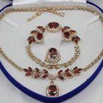 Prett Lovely Women's Wedding Beautiful Gifts true red gem yellow Earring Bracelet Necklace Ring+ Box 5.27