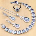 925 <b>Silver</b> Jewelry Set Mystic Rainbow Zircon Stone Decoration For Women Wedding Earrings/Pendant/Open Ring/<b>Bracelet</b>/Necklace
