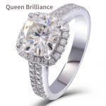 Queen Brilliance 2 Carat H Cushion 3.2MM Width Lab Grown Moissanite Diamond Engagement Wedding Halo <b>Ring</b> 925 <b>Silver</b> for Women