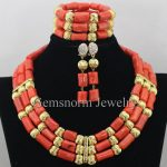 <b>Handmade</b> 3 Rows Nigerian Wedding Coral Beads <b>Jewelry</b> Set African Bridal Costume Dubai Gold <b>Jewelry</b> Set Free Shipping CNR359