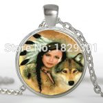2017 New Women Wolves Necklace <b>Native</b> <b>American</b> Woman With Wolf Pendants <b>Jewelry</b> Glass Dome Pendant Necklaces Link Chains HZ1