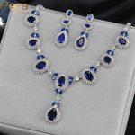 Pera CZ Elegant Big Royal Cubic Zirconia Stone Design Women Party Classic Long Waterdrop <b>Necklace</b> And Earrings <b>Jewelry</b> Set J152