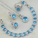 Blue Cubic Zirconia <b>Jewelry</b> White CZ Sterling Silver <b>Jewelry</b> Sets For Women Wedding Earring/Pendant/<b>Necklace</b>/Bracelet/Ring