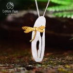 Lotus Fun Real 925 Sterling <b>Silver</b> Handmade Fine Jewelry Leaf and Dragonfly Design Pendant without <b>Necklace</b> for Women Acessorios