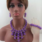New Purple Plastic Pearl Ball Neclaces Women <b>Jewelry</b> Nigerian Wedding African Beads <b>Jewelry</b> Set Free Shipping W13698