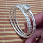 Free shipping 925 Sterling <b>Silver</b> Snake Chain <b>Bracelet</b> Necklace With Clips Suitable For Style Charms On Sale