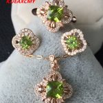 KJJEAXCMY Fine jewelry 925 <b>silver</b> inlaid natural colorful treasure Clover olivine female models jewelry set happiness package