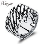 XINYAO 2017 Vintage Fashion Punk Cycle Chain Finger Ring for Mens <b>Antique</b> Silver Color 316L Stainless Steel Ring Male <b>Jewelry</b>