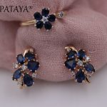 PATAYA New Sunflower Dark Blue Natural Zircon Earrings Up Open Rings Sets 585 Rose Gold Women Wedding Exclusive Design <b>Jewelry</b>