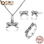 BAMOER 925 Sterling <b>Silver</b> Sparkling Bow Knot Stackable Ring Bridal <b>Jewelry</b> Sets Sterling <b>Silver</b> <b>Jewelry</b> Sets & More ZHS022