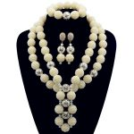 Free Shipping White Siver Ball Chunky Women Statement Necklace Set Dubai African Jewelry Sets Wedding Crystal Beads Jewelry Set