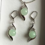 Women's Wedding nice set 10mm light green gem bread pendant & earring silver- brinco real silver mujer fine quality