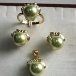 Prett Lovely Women's Wedding fancy <b>jewelry</b> set 10mm green shell pearl,ring, pendant & stud earring