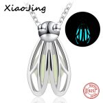 New arrival 925 sterling silver cute firefly pendant chain necklace with glowing ball diy fashion <b>jewelry</b> <b>making</b> for women gifts