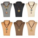 New Arrival Sack Cloth Hemp Rope <b>Necklace</b> Display Handcraft <b>Jewelry</b> Stand Holder Rack Chest Model High Quality Display M Size