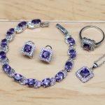Women 925 Sterling <b>Silver</b> Jewelry Purple Zircon White CZ Jewelry Sets Earrings/Pendant/Necklace/Rings/<b>Bracelet</b>