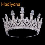Hadiyana New Bridal Hair Tiaras Copper CZ Crystal Zircon Princess Beauty Contest Crown <b>Jewelry</b> Yellow Gold <b>Wedding</b> Crowns BC3438