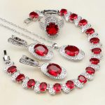 925 Sterling <b>Silver</b> Bridal Jewelry Red Cubic Zirconia White CZ Jewelry Sets For Women Earrings/Pendant/Necklace/<b>Bracelet</b>/Ring