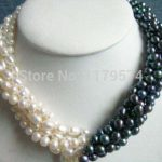 Hot 5rows 7-8mm new fashion white & black Akoya Cultured Pearl necklace Fashion <b>Jewelry</b> <b>Making</b> Design Gifts For Girl Women W0386