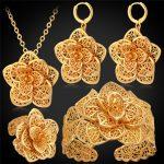 Big Flower Wedding <b>Jewelry</b> Cuff Bracelet Ring Earrings <b>Necklace</b> Set Women Gift Bridal Yellow Gold Color <b>Jewelry</b> Sets PEHR483