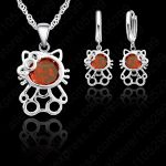 JEXXI Super Cute Kitty <b>Jewelry</b> Set 925 Sterling Necklace Earring Set 3 Layer with AAA CZ Austria Crystal <b>Jewelry</b> Best Gift