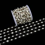 Off White Lampwork Beads Gems 7mm Flat Round Beads Chains,Rosary Plated Bronze Wire Wrapped Link Beading <b>Supplies</b> ZJ-48