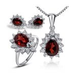 Fashion water drop shape <b>silver</b> gemstone jewelry sets natural garnet ring pendant necklace <b>earrings</b> solid 925 <b>silver</b> garnet set