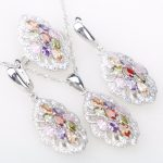 Silver 925 <b>Jewelry</b> Sets For Women Bridal Decorations Colorful Zircon Necklace Pendant Earrings Rings the Nereids Set Free Box