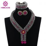 New <b>Silver</b> and Pink African Wedding Statement Necklace Set Crystal Beaded Collar Pendant Bridal Jewelry Set Free Shipping ABL560