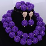 Fashion African Beads <b>Jewelry</b> Sets <b>Handmade</b> Balls Nigerian Bridal Necklace <b>Jewelry</b> Set 2017 Purple 2 Layers Jewellery