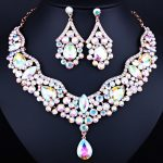 <b>Fashion</b> <b>Jewelry</b> Exquisite Crystal Rhinestones Water Drop Necklace and Earrings Women Bridal Wedding <b>Jewelry</b> sets