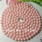 High grade long rope chian 8mm pink shell simulated-pearl round beads necklace for women noble <b>jewelry</b> <b>making</b> 60inch GE1268