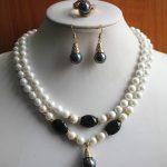 Prett Lovely Women's Wedding beautiful Wholesale Women's 8mm 2 rows white pearl Necklace earring ring(7/8/9) <b>jewelry</b> set