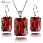 Indian Jewelry Big Red Stone Crystal Pendants <b>Earrings</b> For Women 925 <b>Silver</b> Vintage Wedding Jewelry Sets For Brides Love Gift