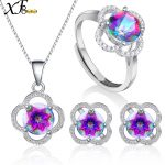 XF800 Gem Stone Jewlery Set Genuine Crystal Topaz Necklace Pendant Ring <b>Earring</b> 925 Sterling <b>Silver</b> Jewelry Gift For Women T238