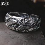 JINSE Hot Sale Vintage Rock Christmas Gift 100% 999 Sterling <b>Silver</b> <b>Bracelet</b> Bangle Jewelry For Men Women Lotus Opening Bangle